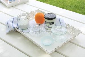 Zestaw do peelingu kokoswego sól, olej kokosowy, soda oczyszczona, skórka pomarańczy, sok z pomarańczy